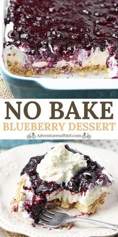 Whip up a dreamy no bake blueberry dessert aka blueberry delight with cream cheese dream whip blueberry pie filling and a pecan crust easy recipe! adventuresofmel blueberry desserts nobake one bowl brownies Smores Dessert, Bon Dessert, Dessert Food, Food Cakes, Blueberry Yum Yum, Easy Blueberry Desserts, Blueberry Crunch, No Bake Blueberry Cheesecake, Blueberry Recipes No Bake