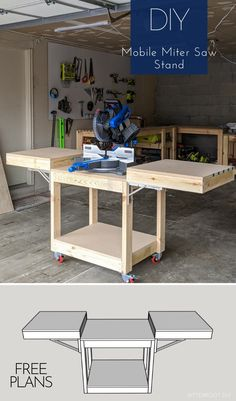 Easiest DIY Mobile Miter Saw Stand Free plans to build a DIY mobile miter saw stand for your workshop. Free up space in the shop and improve workflow with this DIY mobile miter saw stand. Diy Miter Saw Stand, Mitre Saw Stand, Miter Saw Stand Plans, Mitre Saw Bench, Bench Vise, The Plan, How To Plan, Woodworking Bench Plans, Woodworking Projects Diy