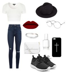 """Classified"" by jjdegraff on Polyvore featuring NIKE, Paige Denim, Topshop, Tory Burch, Casetify, Essie, women's clothing, women, female and woman"