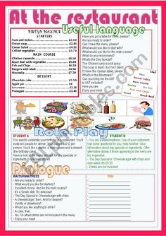 It´s a role play for students to practise a restaurant situation. There´s a menu, some vocabulary and useful language, a role play and a model dialogue. I hope you find it useful! French Language Lessons, English Language Learning, English Lessons, Learn English, Reading Comprehension Worksheets, Vocabulary Worksheets, Handwriting Worksheets, English Teaching Materials, Teaching English