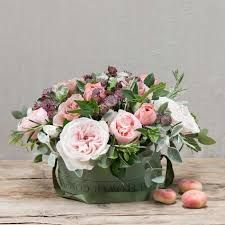 This vintage pink hatbox flower arrangement is full of beautiful antique roses including Cafe Latte and Romantic Antike. All these roses are hand picked from our farms and arranged in oasis with our garden herbs and foliage by one of our expert florists. Happy 21st Birthday, Flower Company, Antique Roses, Real Flowers, Herb Garden, Vintage Pink, Flower Arrangements, Projects To Try, Floral Wreath
