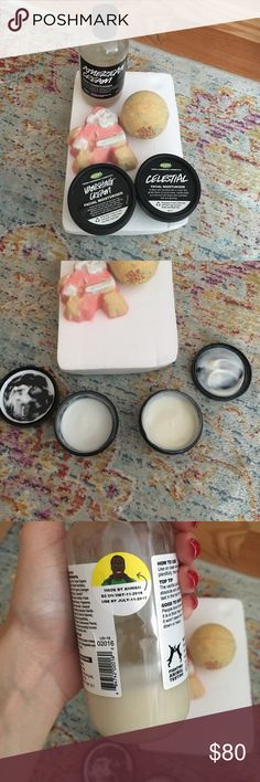 Lush facial moisturizer bath bomb conditioner 2 bathbombs brand new limited edition. Santa 15$, cinder 12$. Brand new celestial facial moisturizer, a little of the product fell out when I tried to open it 20$. Vanishing cream has been used, fair amount left. 17$. American cream conditioner fair amount left 13$. Lush Makeup