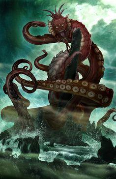 H.P. Lovecraft's DAGON by wjh3.deviantart.com on @deviantART