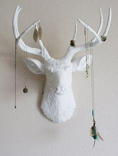 Stylish Storage: 10 Ways to Organize Jewelry                                                                      Put your decorative deer head to work displaying jewelry. This piece is from Banana Tree Studios.