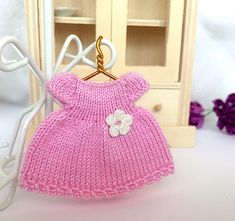 Doll clothes, miniature pink dress with crochet flower, outfit good for 2.5 - 2.75 inch doll, dollhouse miniature by AnnaToys on Etsy
