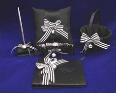 Nightmare Before Christmas Wedding Set Guest Book, Pen, Garter, Pillow & Guest Book. Love it!!!!