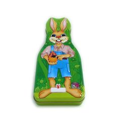 Happy Easter Bunny shaped chocolate tin box