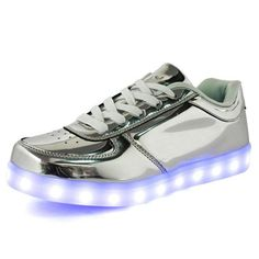 Cheap shoe beautiful, Buy Quality shoe directly from China shoe display Suppliers: Hot 8 colors Shining Shoes With LED Laser Light Fashion Casual Unisex Leather Surface Gold Silver USB Light Up Shoes For Adults Moda Sneakers, Sneakers Mode, Sneakers Fashion, Fashion Shoes, Led Light Up Sneakers, Light Up Shoes, Kid Shoes, Men's Shoes, Shoes Men
