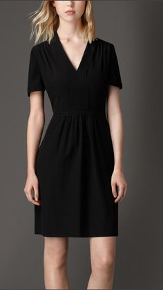 Burberry Structured Crepe Silk Dress