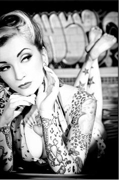 Rockabilly, black and white, tattoos