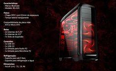 Gabinete Gamer Bluecase Bg-024 Red 2 Baias Sem Fonte Usb 3.0 - R$ 199,90 em Mercado Livre