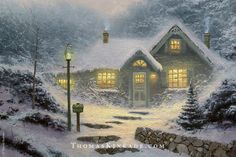 "Initially, Thomas Kinkade wanted to call this painting ""Cookies Baking"", because he could imagine the aroma of fresh-baked cookies as he painted it. He finally named it ""Home for the Evening"" once he finished it in 1991 because he felt that the completed work had a sense of ""being home"". Thom included the number 5282 on the mailbox for his wedding anniversary. #tbt #throwbackthursday #thomaskinkade #winter"