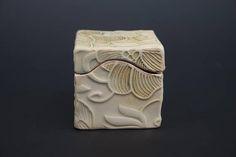 Small handmade ceramic box, dogwood flower stamp, off-white, slab built, porcelain ring box