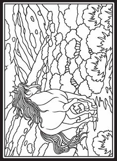 Wild Horses Stained Glass sample pages @ Dover Publications