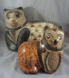 PAIR Large Medium Signed Vintage Mexican Burnished Tonala Pottery Cats Mexico NR