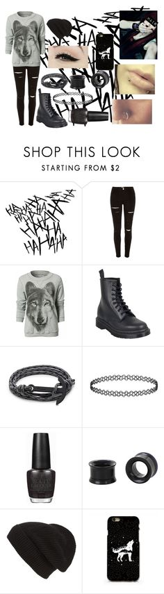 """Emo Wolf Outfit"" by abipatterson on Polyvore featuring River Island, Dr. Martens, MIANSAI, Anatomy Of, OPI and Phase 3"