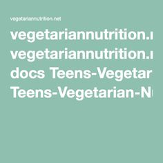On Teens And Vegetarian Nutrition 81