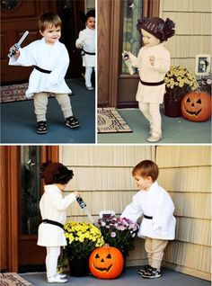 Geeky Gifts For Twins on @GeekMom l Luke and Leia DIY costumes by Professional Twin Mommy