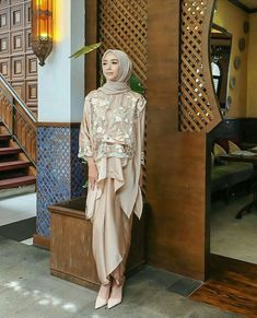 Vira Tandia Hijab Prom Dress, Hijab Gown, Muslimah Wedding Dress, Wedding Dresses, Kebaya Lace, Kebaya Dress, Dress Pesta, Kebaya Modern Hijab, Kebaya Hijab