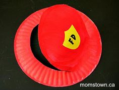 Here's a really cute and frugal way to make your child a firefighter hat that is perfect for Fire Safety Week or just for dress up fun!