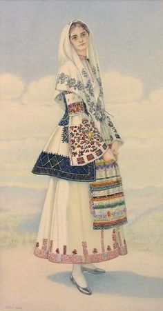 NICOLAS SPERLING Peasant Woman's Costume (Peloponnese, Argos) 1930 lithograph on paper after original watercolour Greek Traditional Dress, Traditional Fashion, Traditional Outfits, Folk Clothing, Greek Clothing, Historical Clothing, Ethnic Fashion, European Fashion, Greek Dress