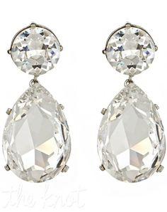 Thomas Laine - Large Swarovski Crystal Teardrop Earrings - Jewelry