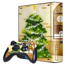 Cover Skin Stickers for 360E Game Console and Controllers with Christmas Tree Pattern