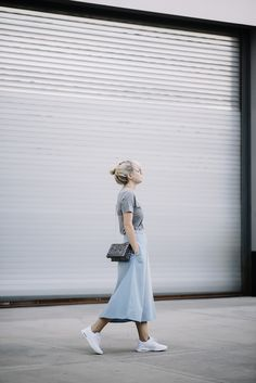 Rodarte tee. The Fifth Label skirt. Nike air max thea sneakers. 3.1 Phillip Lim bag. Stella McCartney glasses.