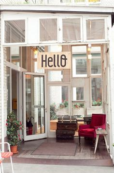 """The Michelberger Hotel is a stylish, funky, inexpensive concept hotel in Berlin. It's located in an old factory building and is filled with handmade furniture and flea-market finds (and, plenty of DIY decorating ideas to bring home!)."""