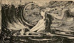 Illustration art Black and White vintage design mermaid mythology Charles Robinson Fairy tales from Hans Christian Andersen Art And Illustration, Mermaid Illustration, Art Illustrations, Vintage Mermaid, Mermaid Art, Art Inspo, Mermaid Mythology, Art Nouveau, Water Fairy
