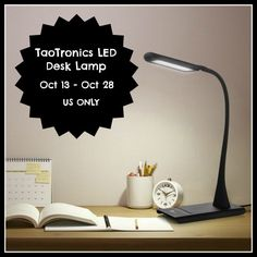 TaoTronics Dimmable LED Desk Lamp GIVEAWAY. One lucky reader will win a TaoTronics Elune Dimmable Eye-Care LED Desk Lamp in pink or black.