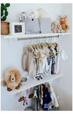 Girls Closet Organization, Baby Nursery Organization, Baby Nursery Decor, Organization Ideas, Nursery Rugs, Girl Nursery, Nursery Wallpaper, Nursery Storage, Project Nursery