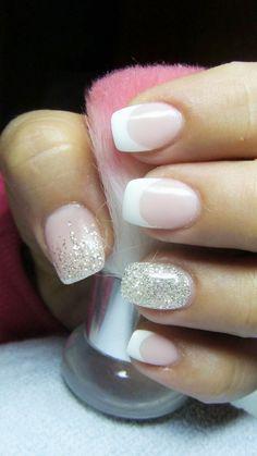 Ideas French Manicure Gel Nails Sparkle Silver Glitter For 2019 Glitter French Manicure, Silver Glitter Nails, Nail Manicure, Glitter Art, Manicure Ideas, Nail Polish, Nail Ideas, French Tip With Glitter, Manicure Colors