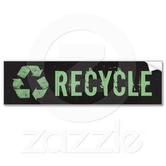 Black Recycle Symbol Bumper Sticker #recycle #environmental #upcycle