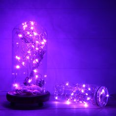 led purple lights aesthetic fairy string bedroom lavender wallpapers twinkle firefly night things iphone