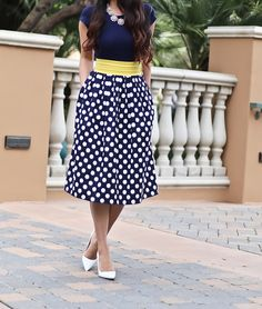 CHARM FOR THE CHOOSING A-LINE DRESS, white pumps, polka dot dress, spring dresses, petite fashion blog - click the photo for outfit details!