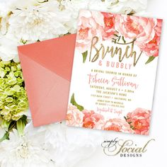 brunch and bubbly bridal shower invitation peach peony ranunculus and faux gold foil watercolor floral