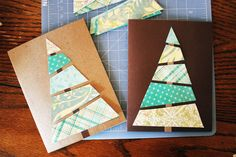Easy DIY Christmas card. Could use cut-out strips from magazines. le sapin est composé de découpes de magazines.