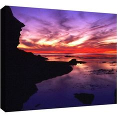 Dean Uhlinger Sunset Cliffs Twilight Gallery-Wrapped Canvas, Size: 36 x 48, Black
