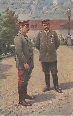 German WW1 Postcard, Kaiser Wilhelm & General von Hindenburg, 1916