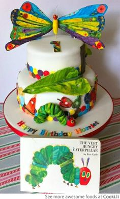 Caterpillar to Butterfly Cake See More at http://www.cooki.li/ -
