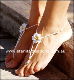White Frangapani with Diamante Barefoot Sandals #Giveaway