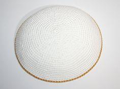 kippah white and gold by crochetkippah on Etsy