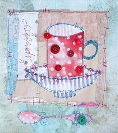 Spotty Espresso Cup by Pricilla Jones Free Motion Embroidery, Free Machine Embroidery, Embroidery Applique, Textile Fiber Art, Textile Artists, Contemporary Embroidery, Fabric Journals, Textiles, Thread Painting