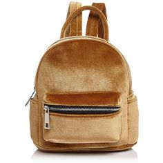 Street Level Mini Velvet Backpack (41.455 CLP) ❤ liked on Polyvore featuring bags, backpacks, knapsack bag, brown backpack, miniature backpack, velvet bag and mini rucksack