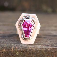 sterling silver coffin cut gemstone ring