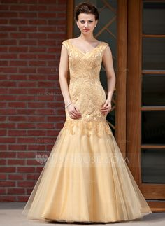Trumpet/Mermaid V-neck Floor-Length Satin Tulle Mother of the Bride Dress With Beading (008018982) - JJsHouse