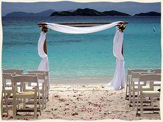 Beautiful/simple white beach wedding...St. Thomas Island Wedding Services