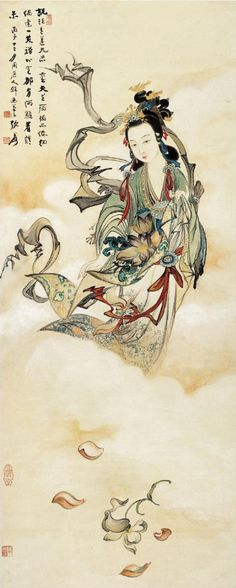 ZHANG DAQIAN - GODDESS SCATTERING FLOWERS - Ink and color on paper, hanging scroll. Dated 1936.