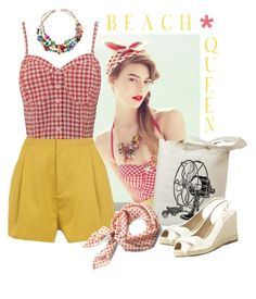 Beach Queen by vintagevelyn17 on Polyvore featuring polyvore fashion style Jane Norman Surface To Air Valentino Esther Williams Retrò clothing wedge shoes vintage inspired retro mustard gingham white wedges retro swimwear summer esther williams teen vogue retro style laguna rosie the riveter madonna vintage swimwear high waisted shorts wedges beach boys beach zooey deschanel polka dot scarf multi-colored necklace taylor swift retro summer beachy vintage style bustier the notebook indie…